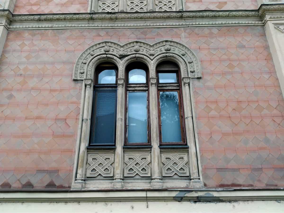стари, фасада, къща, прозорец, Тухла, архитектура, стена, екстериор