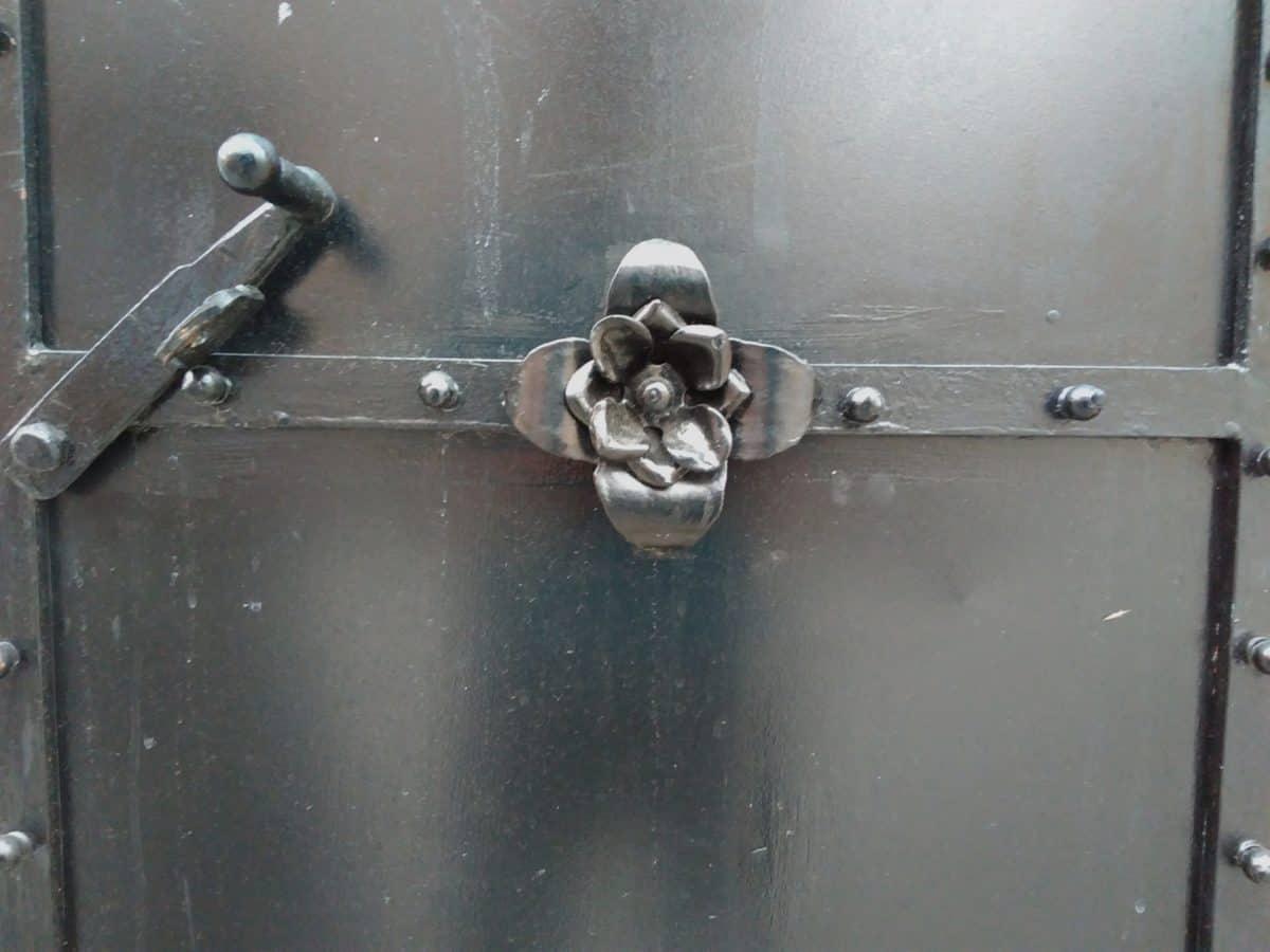 nero porta, sicurezza, casa, esterno, ferro, metallo, acciaio