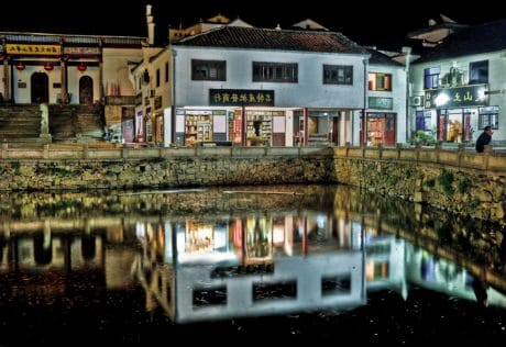 architecture, exterior, reflection, water, city, night, market, street