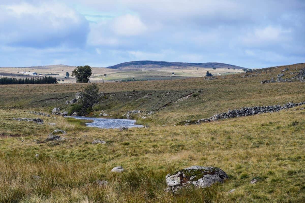 Hill, svahu, tráva, krajina, voda, pastviny, obloha, venkovní, pole