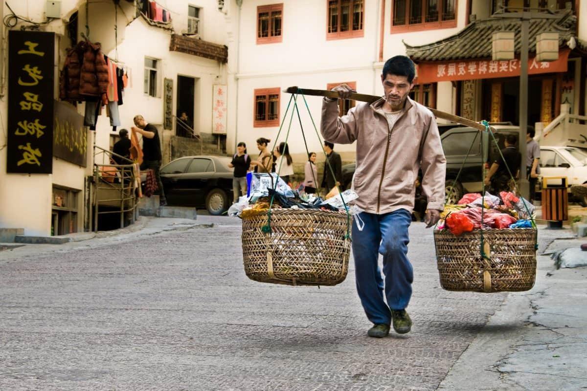 homme, rue, marché, ville, gens, vendeur
