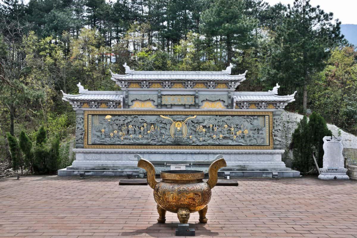 architecture, sculpture, antique, religion, temple, vieux, arbres