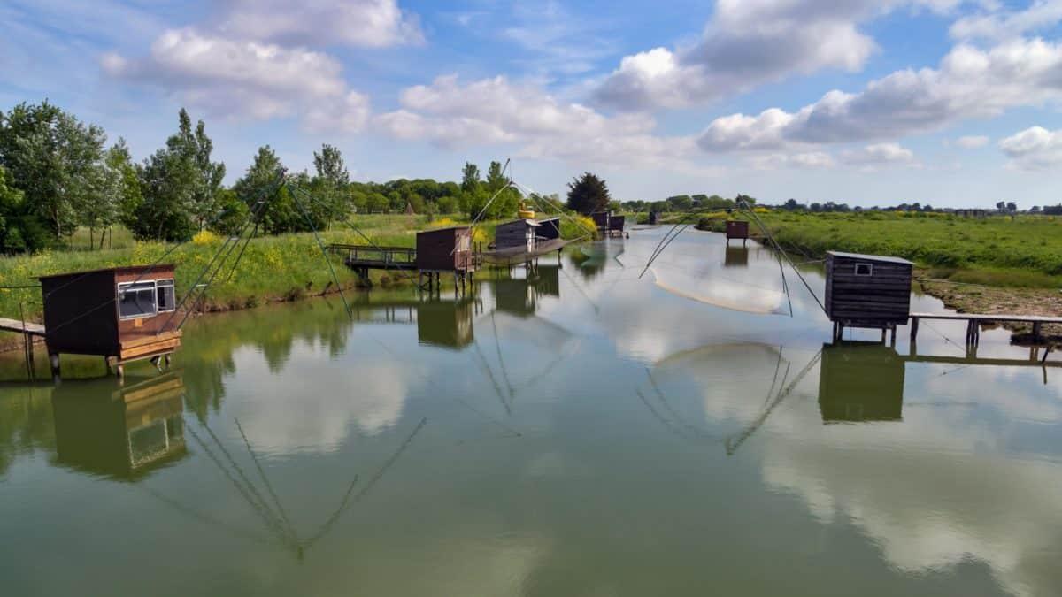 pesca, pesca gear, riflessione, paesaggio, albero, acqua, fiume, legale
