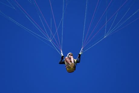 extreme sport, blue sky, parachute, people, outdoor, person, jump