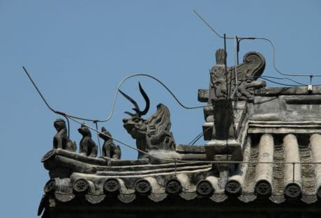 statue, old, sky, architecture, sculpture, roof
