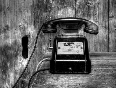 Retro, Monochrom, Antiquität, Telefon, alte, klassische, Nostalgie, Holz, Telefon