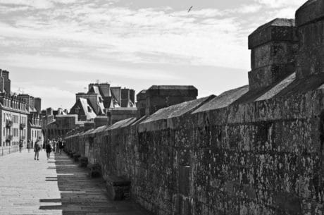 monochrome, castle, wall, fortress, people, sky