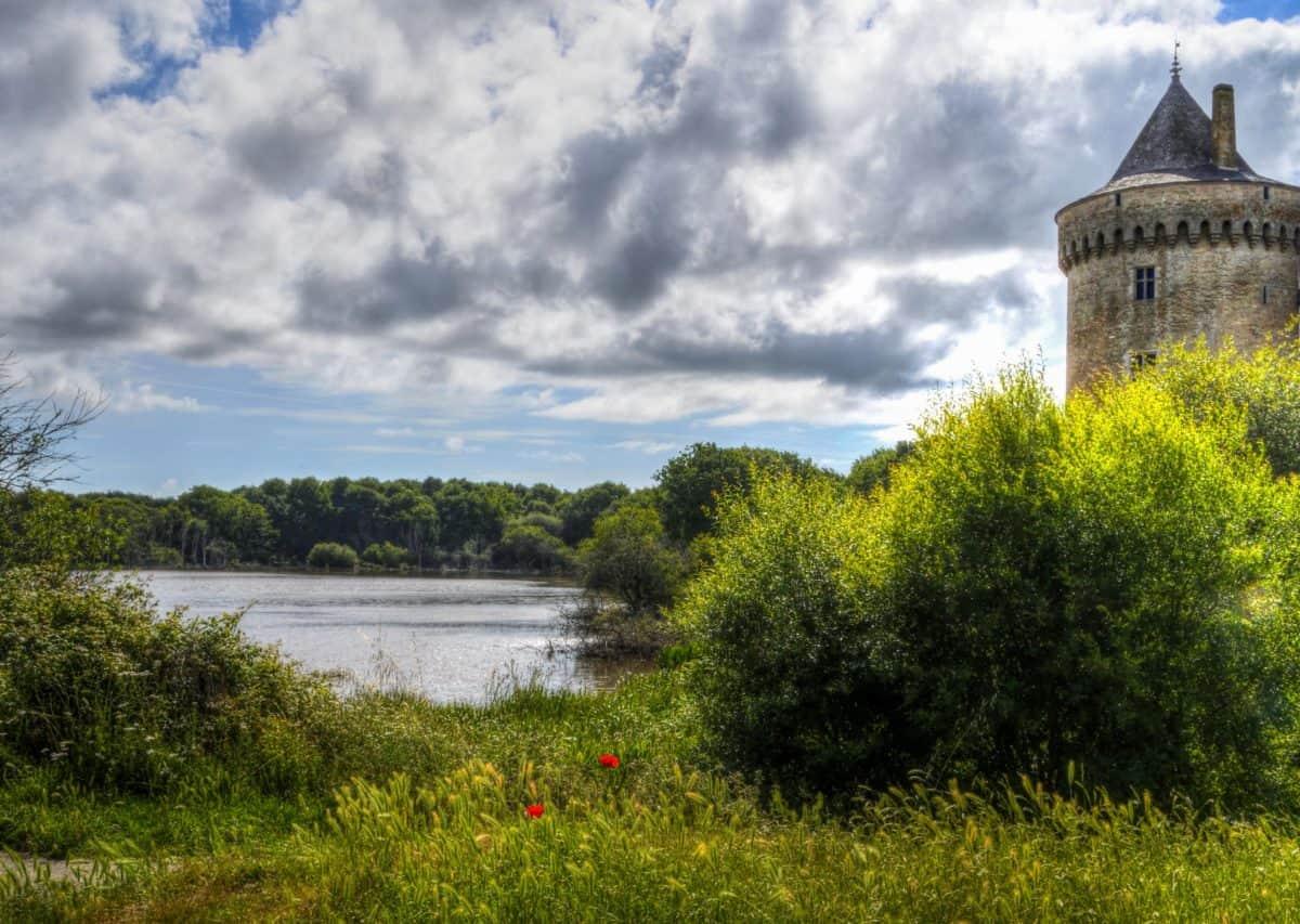ciel, architecture, paysage, château, lac, parc national