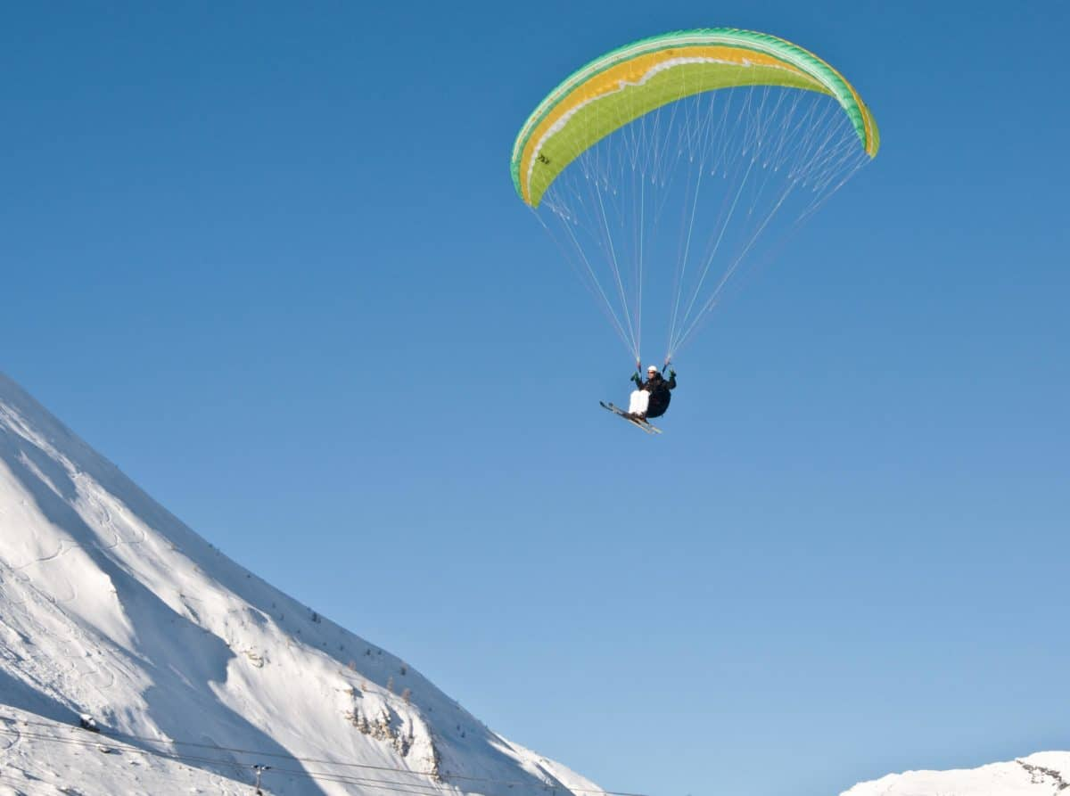 extreme sport, cold, high, snow, winter, mountain, adventure, sky, parachute