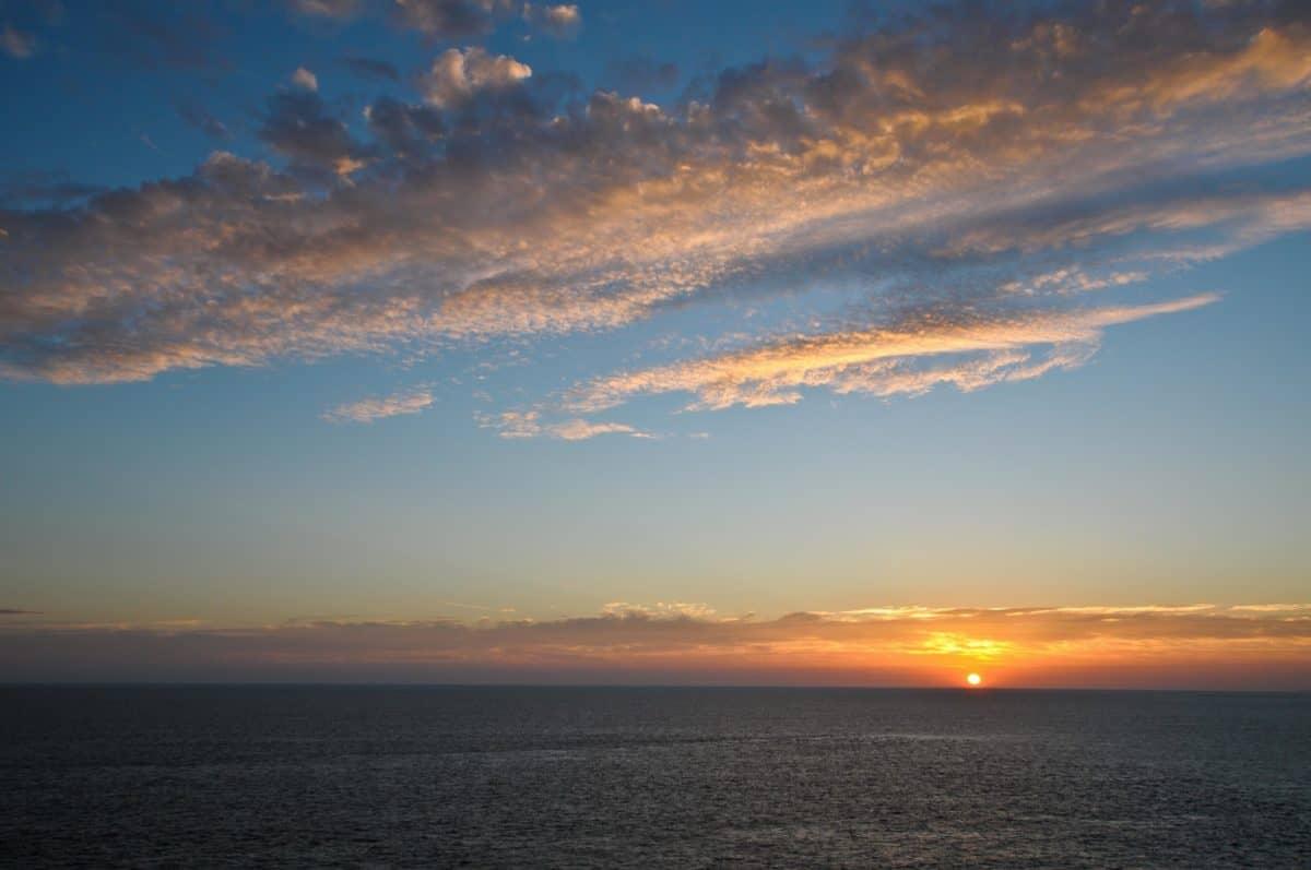 пейзаж, здрач, море, небе, залез, лятото, вода, слънце