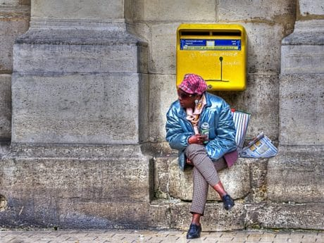 woman, mailbox, people, street, urban, outdoor, ground, building, concrete