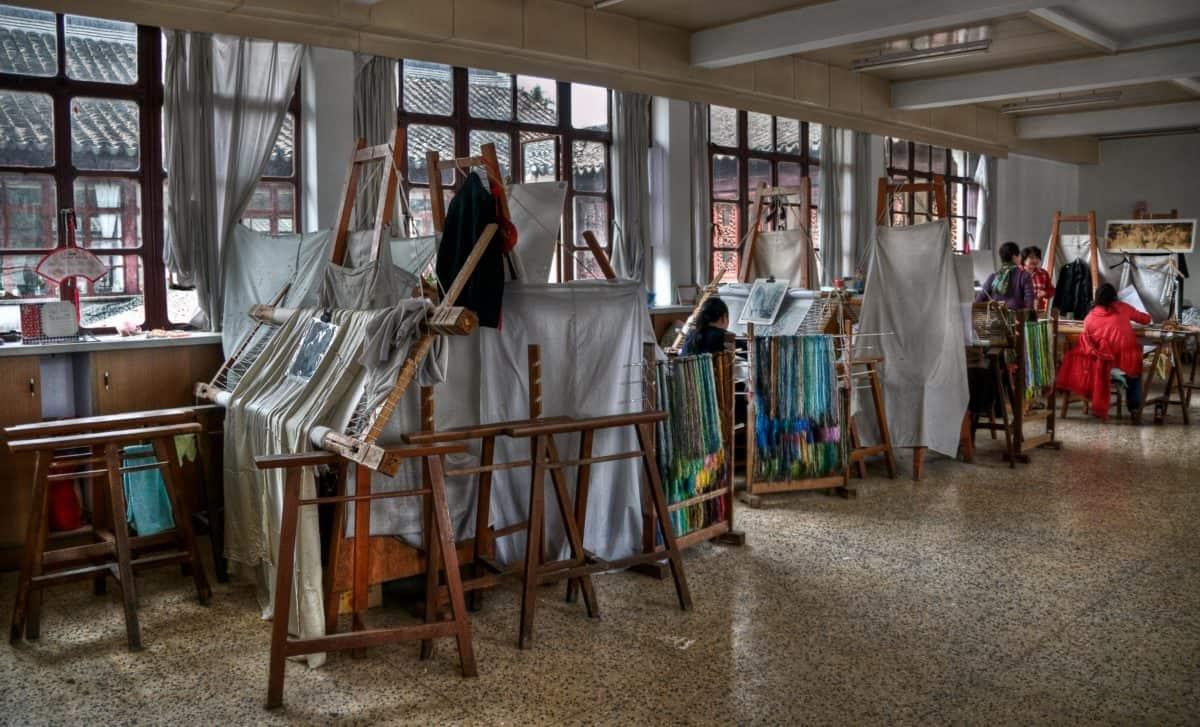 craft shop, chair, room, indoor, weaving, textile, window