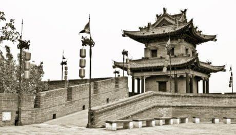 건축, 흑백, 성, 오래 된, 사원, 궁전, 타워, 세피아