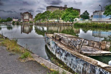 boat, reflection, water, architecture, river, outdoor, grass
