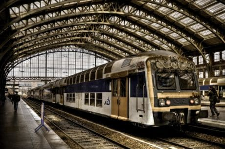 railway station, steel, platform, station, train, locomotive