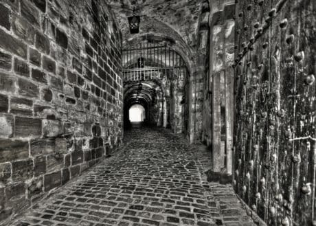 monochrome, architecture, wall, old, tunnel, outdoor, brick