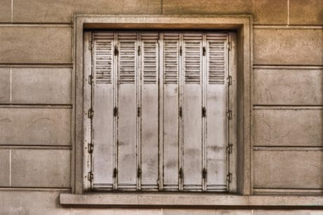 house, facade, exterior, building, architecture, metal, old window