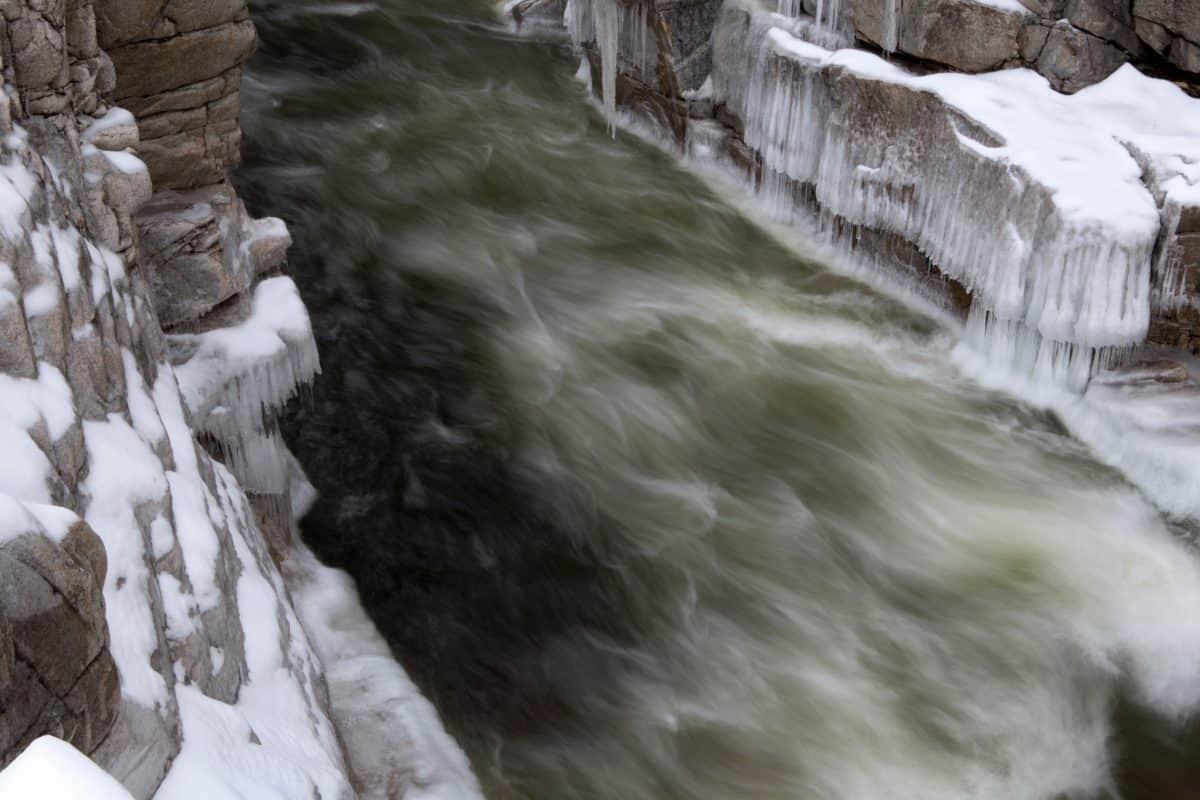 snø, kald, vinter, foss, vann, natur, is, elven