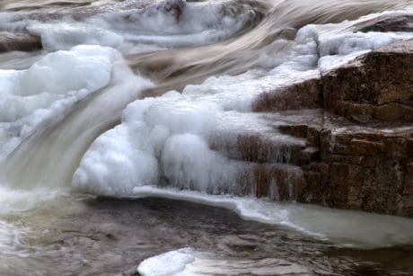 landscape, river, stream, water, waterfall, nature, ice, crystal