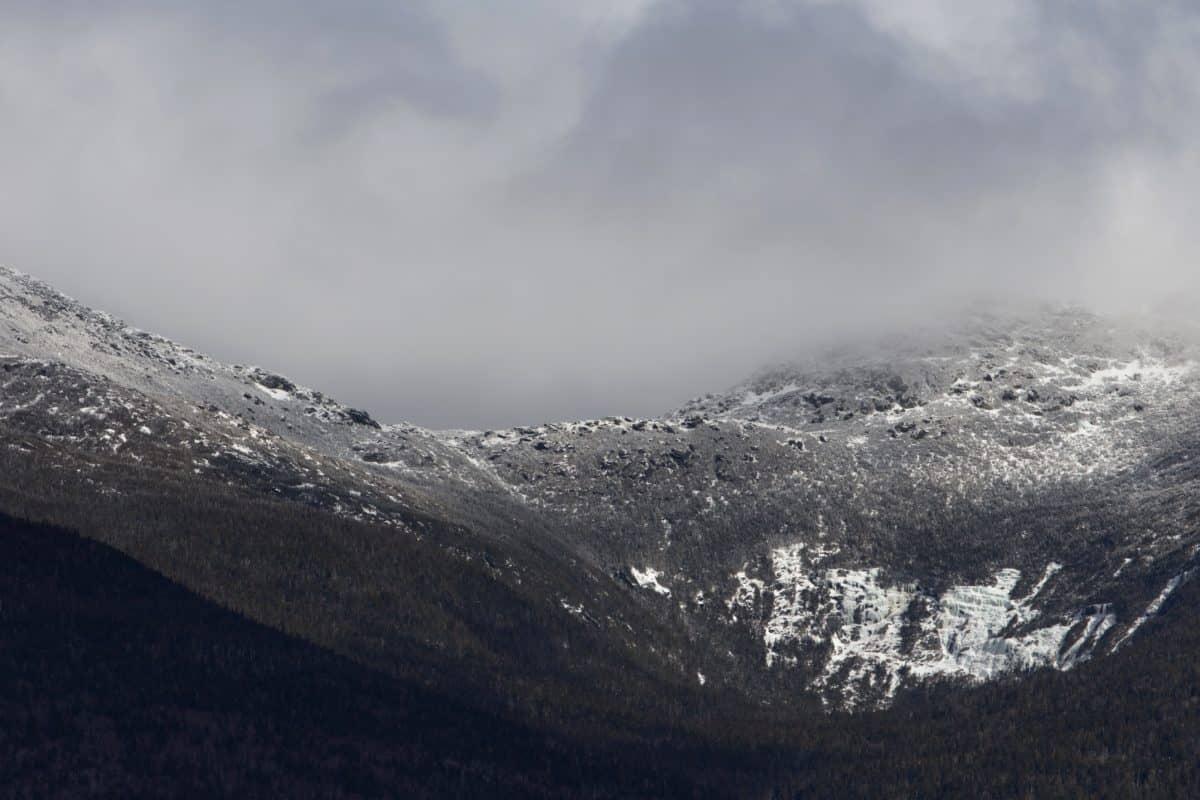 Valle, montaña, paisaje, naturaleza, nieve, invierno, Cerro, cielo