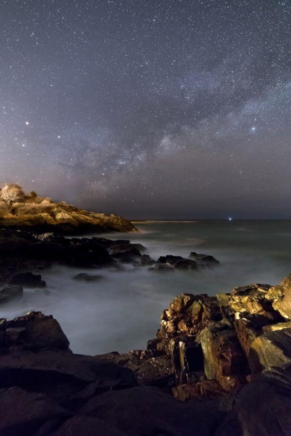 нощ, пейзаж, небе, вода, море, залез, Луната, океан, бряг, бряг