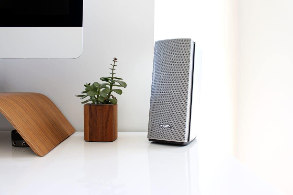 minimalismo, altavoces, sonido, electrónica, pared, oficina, interior