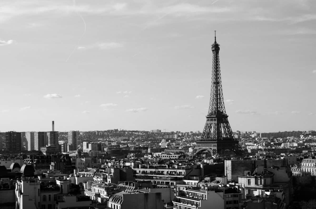Sepia, Francia, monocromo, ciudad, arquitectura, París, torre, cielo, señal, al aire libre