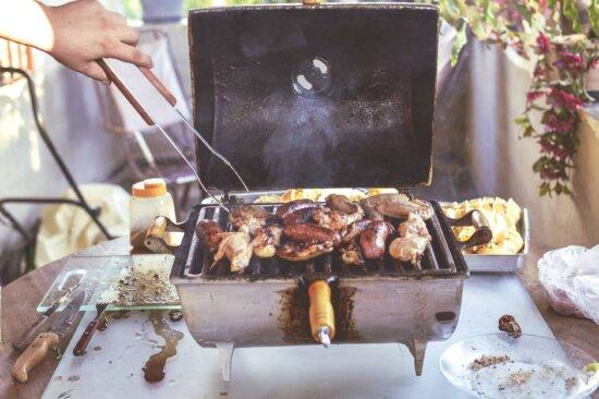 viande, aliments, barbecue, tournebroche, four, rôti, dîner, grill