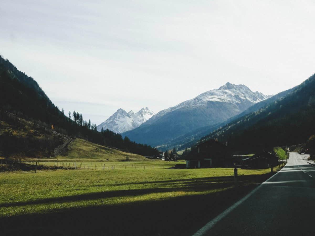 montaña, paisaje, nieve, sky, autopista, alta, bosque