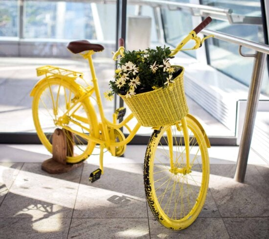 antique, decoration, yellow, wheel, old, bicycle, vehicle, conveyance