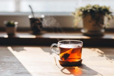 window, tea cup, table, breakfast, drink, glass, beverage
