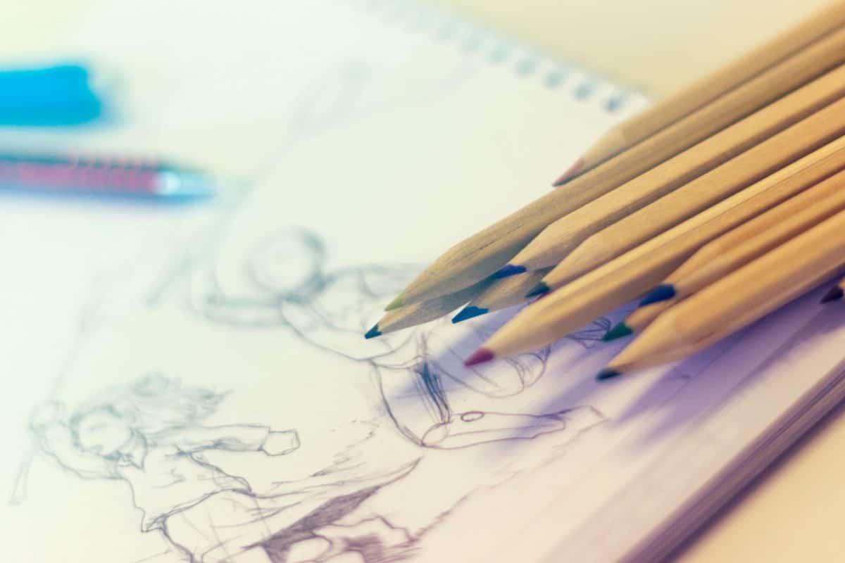 éducation, matériel, papier, crayon, tirage au sort, intérieur
