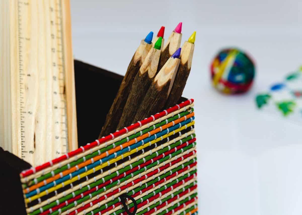 tužka, vzdělávání, tvořivost, krytý, box, dřevo
