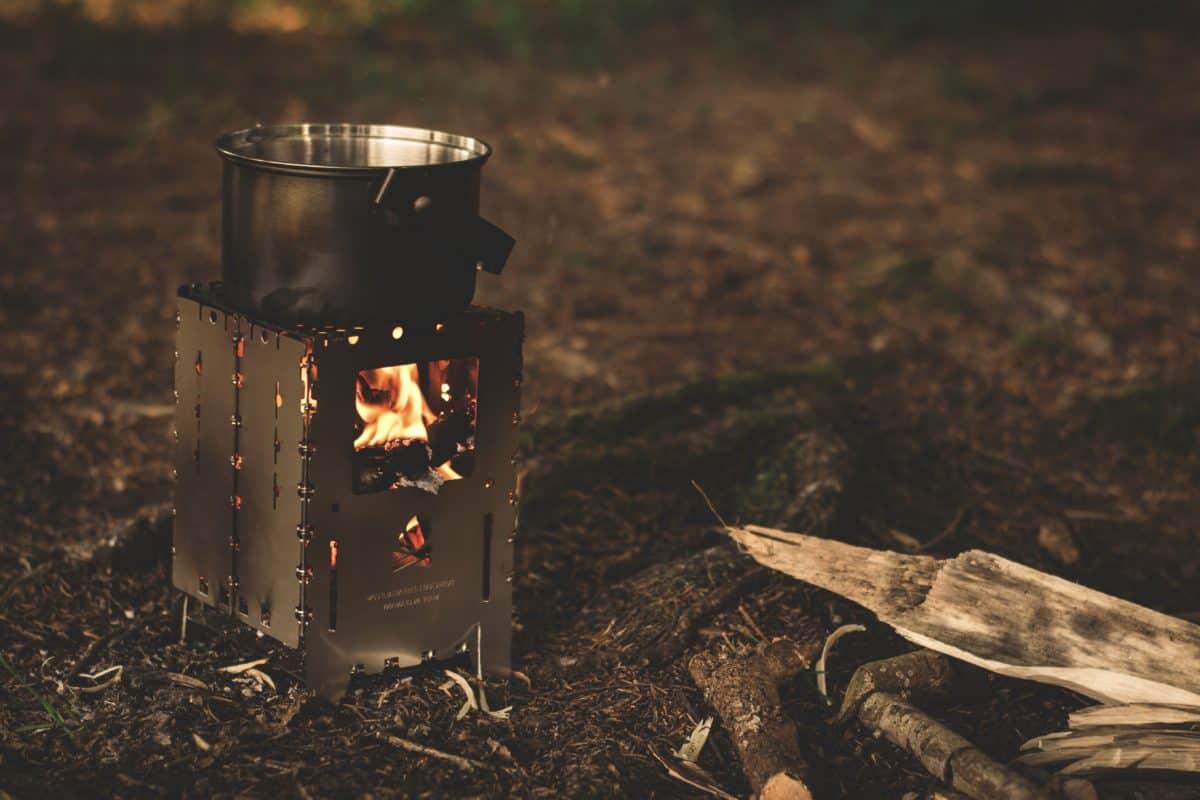 Vonkajší, ohňa, táborenie, mletá, noc, tmu
