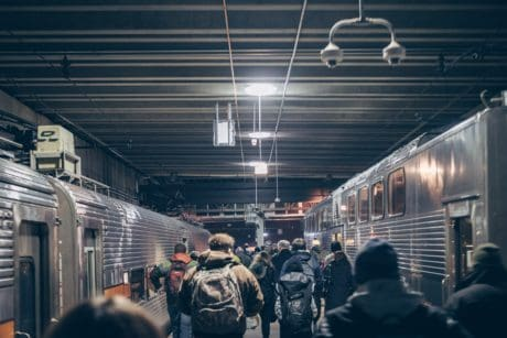 subway station, railway, train, people, platform, person