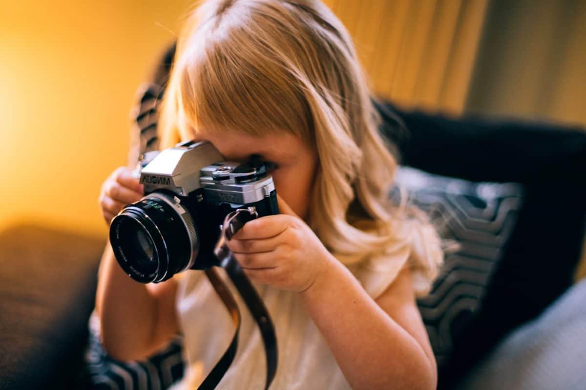 lentille, enfant, zoom, paparazzi, appareil, équipement, photographe