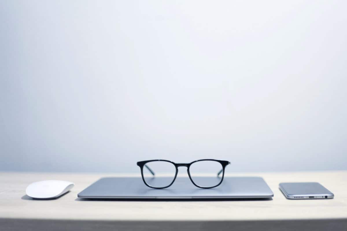 laptop computer, eyeglasses, technology, modern, object, office