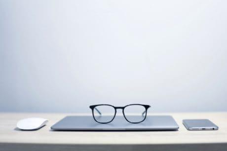 anteojos, tecnología, computadora portátil, moderno, objeto, oficina
