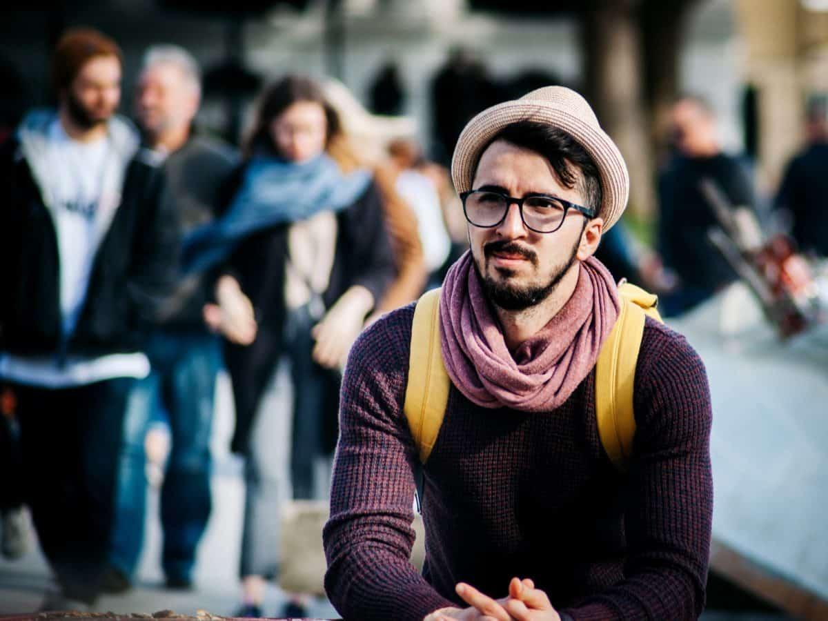 persone, street, persona, uomo, folla, cappello, barba
