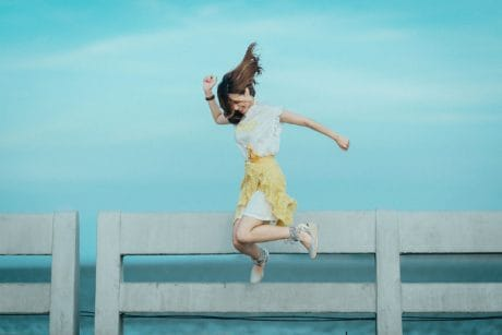 jump, fence, summer, beach, sea, water, sky, woman, trampoline, dancer