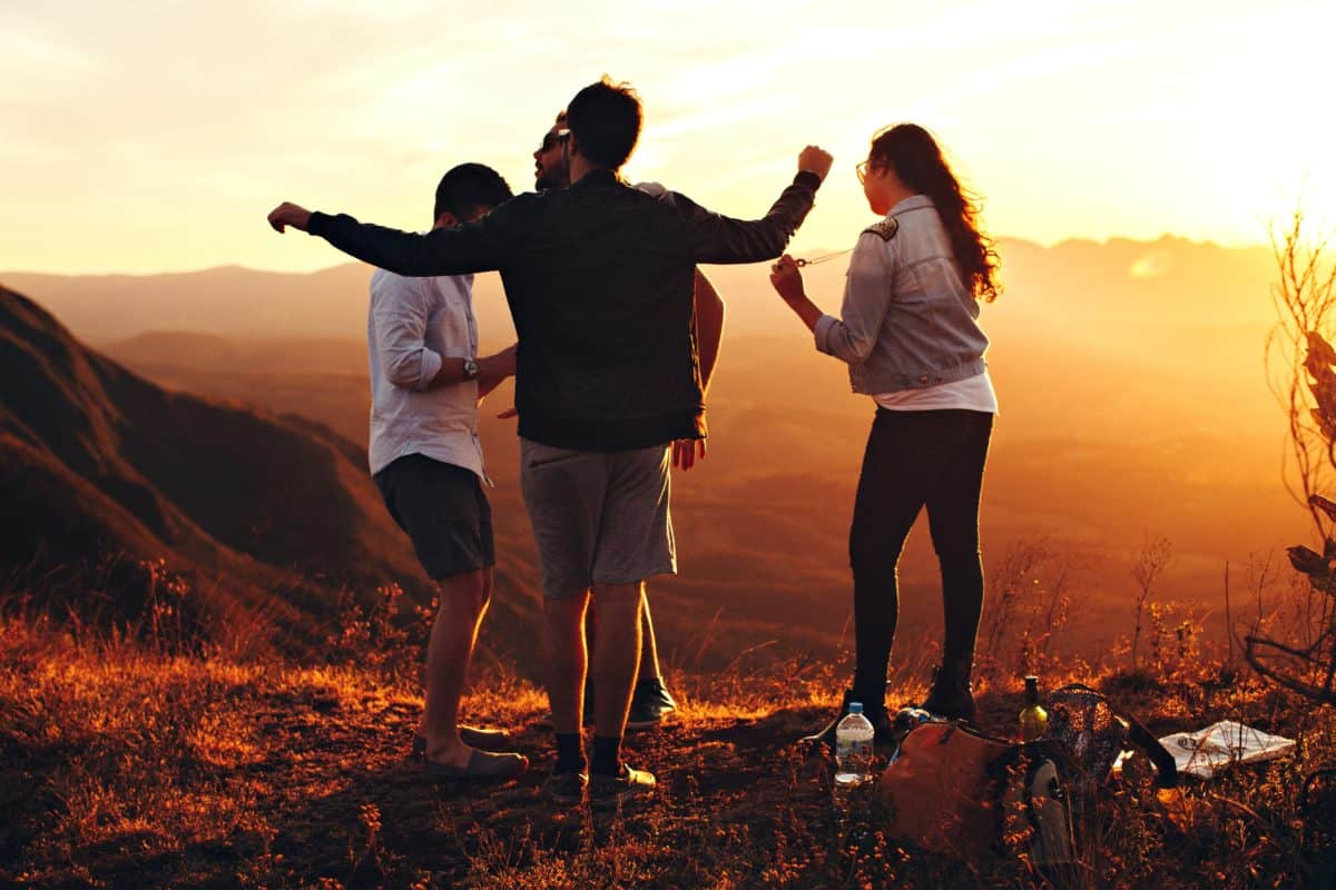 sunset, people, sky, silhouette, outdoor, person, nature