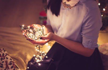 wakacje, ludzi, ręka, światła, atrakcyjne, osoba, Kobieta, Pani