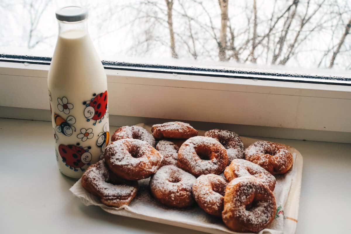 cibo, colazione, latte, bottiglia, finestra, biscotto, pasto