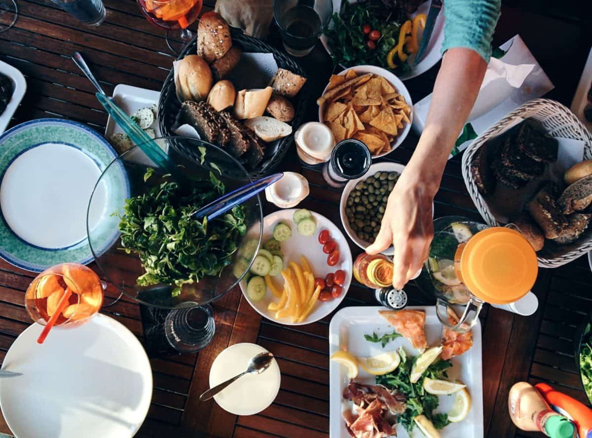 tavolo, cibo, ristorante, cena, banchetto, pasto