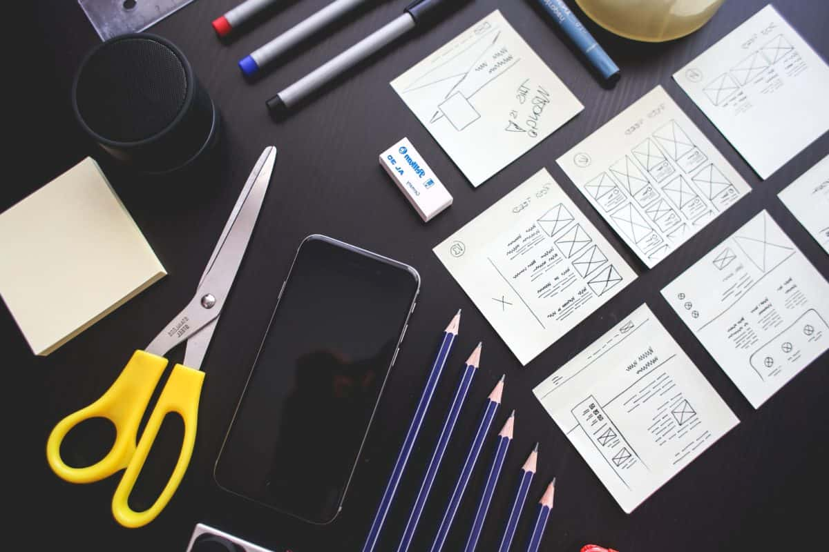 office, scissors, pencil, paper, cellphone, object