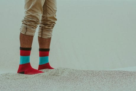 footwear, woman, sock, sand, person