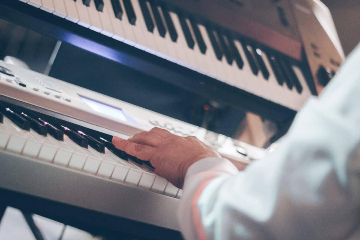 art, homme, musique, piano, clavier, personne, intérieur