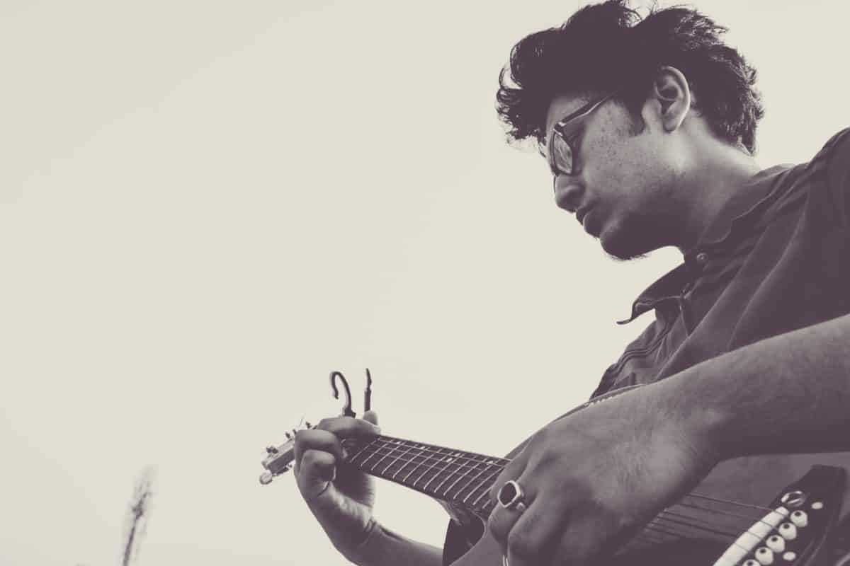 Menschen, Musik, Musiker, Gitarre, Monochrom, Instrument, Gitarrist