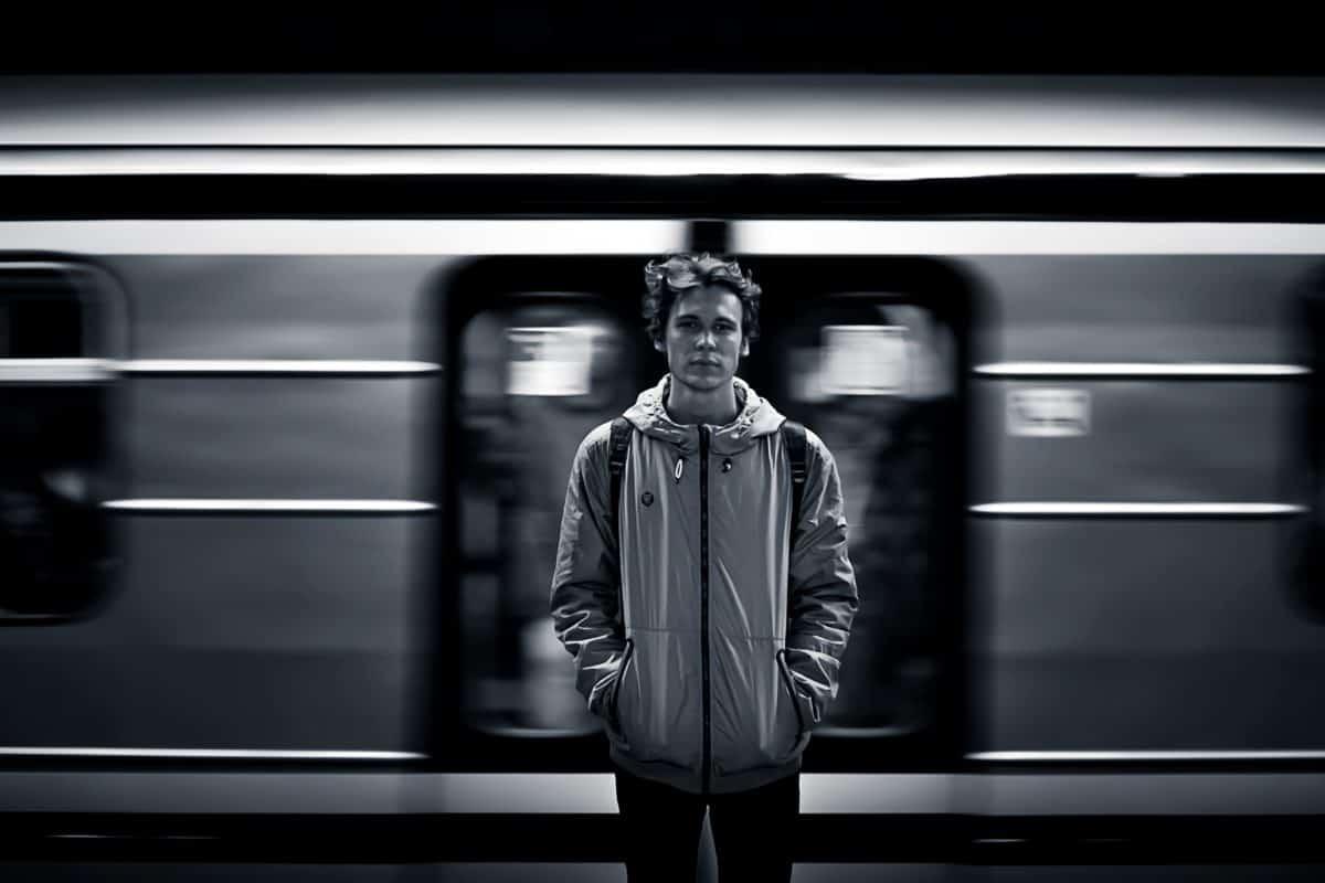 Ritratto, uomo, monocromatico, metropolitana, stazione della metropolitana