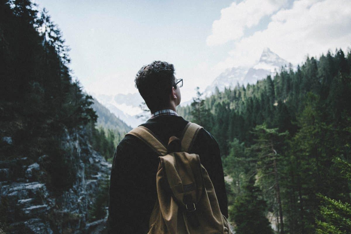 personas, montaña, árbol, al aire libre, persona, hombre